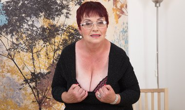 Horny Grandma Plays with Her Tits and Hairy Pussy - Mature.nl