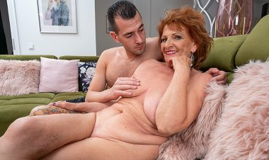 Horny grandma sucks her toyboy's cock and gets her pussy thumped