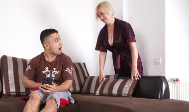 Cougar catches her stepson masturbating and joins in