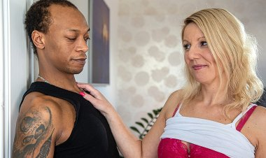 Big dicked black guy fucking a MILF in her kitchen
