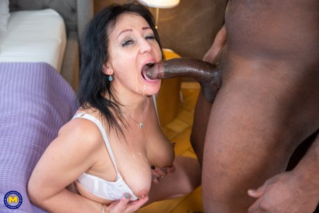 Horny cougar getting fucked by a black worker