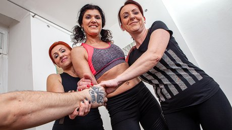 Three fitness cougars fucked by a hard young guy