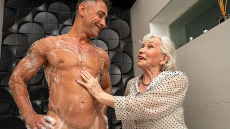 Granny Maria does a hot stud in the shower