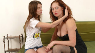 Horny Old and Young Lesbians Make out on the Couch – Mature.nl