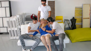 Three strapping young lads fuck big breasted mature Musa – Mature.nl